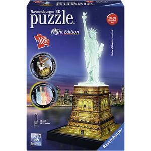 Ravensburger 3D Puzzle Freiheitsstatue bei Nacht, 108 Teile