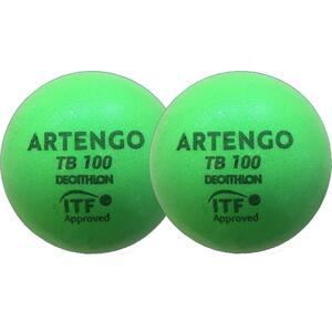 Tennisball TB100 ×2 9cm Schaumstoff grün