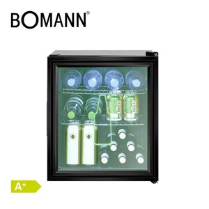Glastür-Kühlschrank KSG 7281 · 46 Liter Nutzinhalt · Kapazität: 54 Dosen á 330 ml · geeignet für 1,5-Liter-Flaschen bis ca.35,0 cm · LED-Innenraumbeleuchtung · Maße: H 51,5 x B 44,0 x T 46