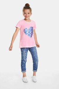 T-Shirt mit Herz aus Wendepailletten
