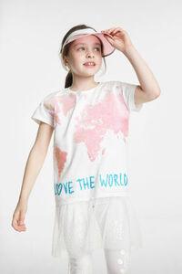 T-Shirt mit Weltkarte aus Wendepailletten und mit Rock