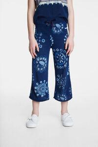 Knielange Culotte-Hose mit Aquarell-Mandalas