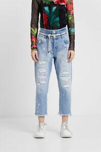 Boyfriend-Jeans mit doppeltem Bund