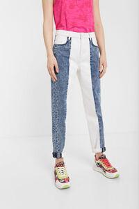 Zweifarbige Mum-Jeans