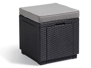 Allibert Hocker »Cube«, mit Stauraum, in Korbdesign, inklusive Kissen, 110 kg Belastbarkeit