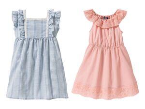LUPILU® Kleinkinder Kleid Mädchen, 2 Stück, mit Carmenausschnitt und Flügelärmeln