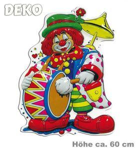 Clown mit Trommel- Wanddekoration, Höhe: ca. 60 cm