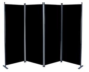 Grasekamp Paravent 4tlg Raumteiler Trennwand Sichtschutz Schwarz