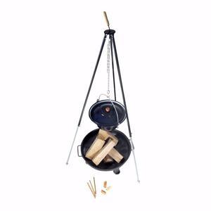 acerto® Gulaschkessel 10L + Dreibein-Gestell (180cm) + Feuerschale (55cm) + Kaminholz Buche