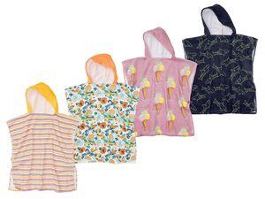CRIVIT® Kinder Poncho, mit Kapuze und Knöpfung, aus reiner Baumwolle, trocknergeeignet