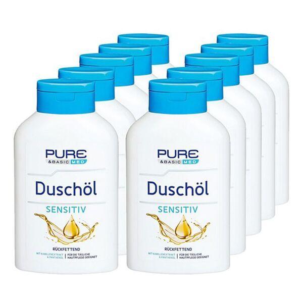 Pure & Basic med Duschöl Sensitiv 300 ml, 10er Pack