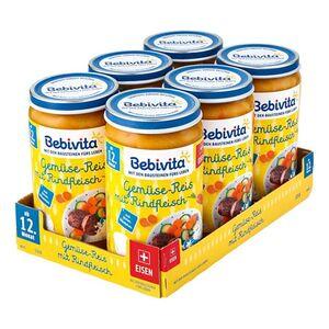 Bebivita Gemüse-Reis mit Rindfleisch 250 g, 6er Pack