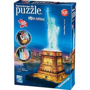 Ravensburger 3D Puzzle Night Edition - Freiheitsstatue bei Nacht, 108 Teile