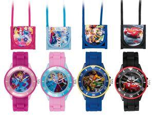 Kinder Armbanduhr, mit passendem Brustbeutel, Toy Story 4, Princess, Cars oder Frozen