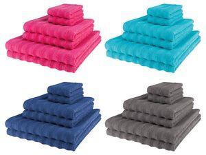 MIOMARE® Frottier-Handtücher-Set, 6-teilig, mit Hoch-Tief-Struktur, aus reiner Baumwolle
