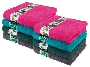 MIOMARE® Handtuch, 2 Stück, 50 x 100 cm, mit dekorativer Bordüre, aus reiner Baumwolle