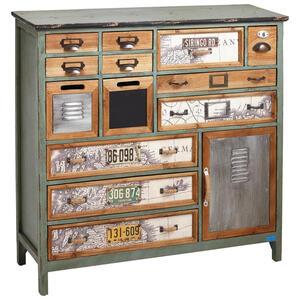 KOMMODE Kiefer massiv lackiert, bedruckt Anthrazit, Grau, Multicolor, Kieferfarben