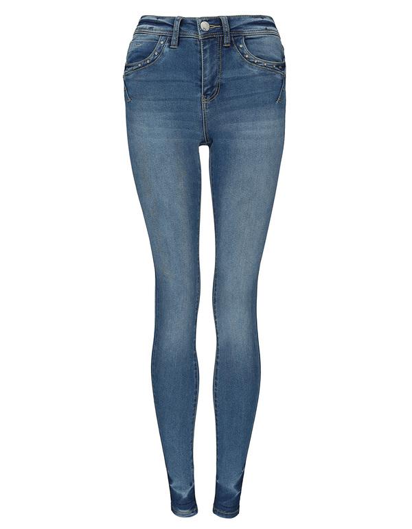 Damen Skinny Fit Jeans mit Verzierung