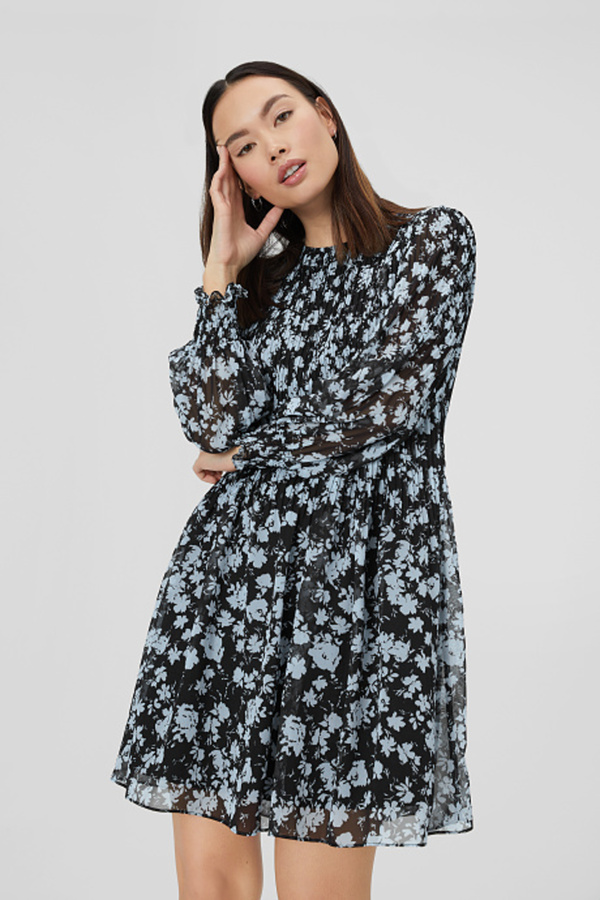 C&A Plissee-Kleid-gesmokt, Blau, Größe: 40 von C&A ansehen!