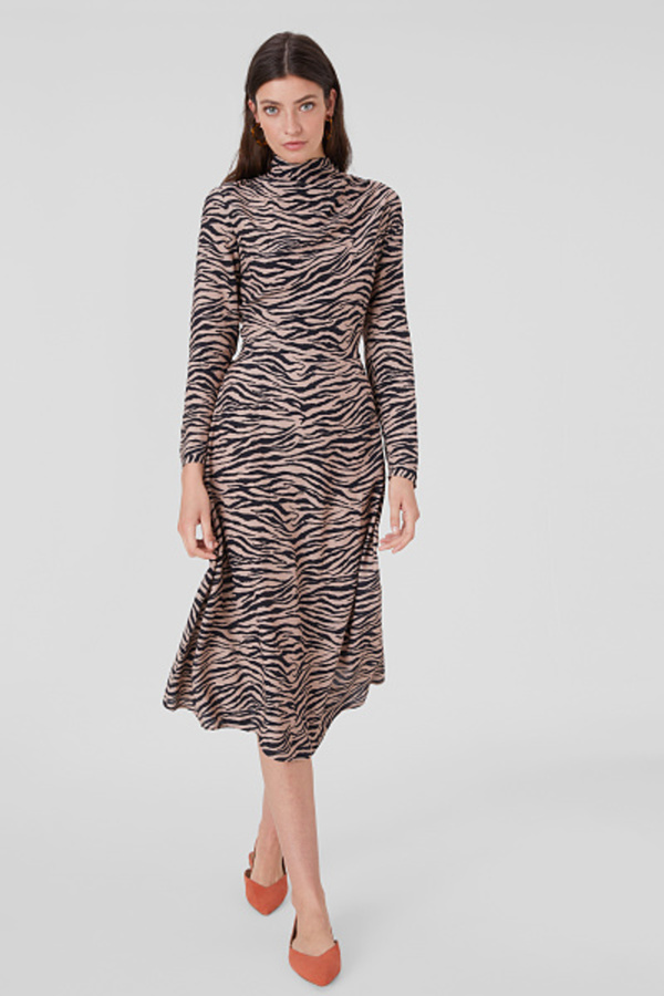C&A Fit & Flare Kleid mit Wasserfallausschnitt-Animal ...