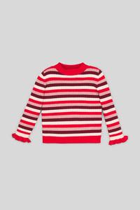 C&A Pullover-Glanz-Effekt-gestreift, Bunt, Größe: 140
