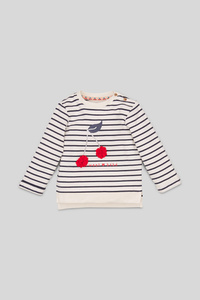 Baby-Sweatshirt - Bio-Baumwolle - Glanz-Effekt - gestreift