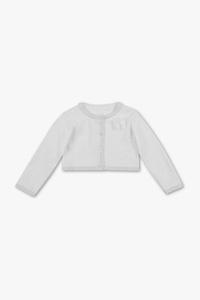 C&A Baby-Strickjacke-gepunktet-Glanz-Effekt, Weiß, Größe: 98
