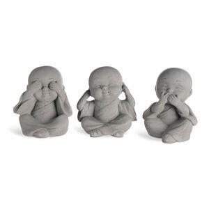 Dekofigur Buddha, 3er-Set, D:5,5cm x H:9cm, grau
