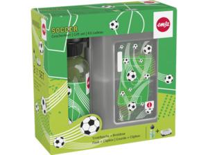 EMSA 518140 Soccer Lunchbox mit Trinkflasche in Schwarz/Grün/Transparent