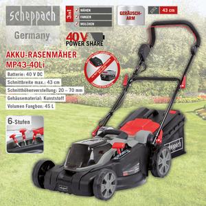 Scheppach Akku-Rasenmäher 43cm MP43-40Li