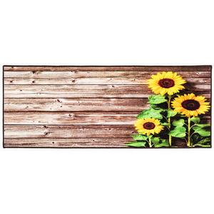 """Bella Casa Teppichläufer mit fotorealistischem Digitaldruck """"Sonnenblume auf Holz"""", ca. 67 x 170 cm"""