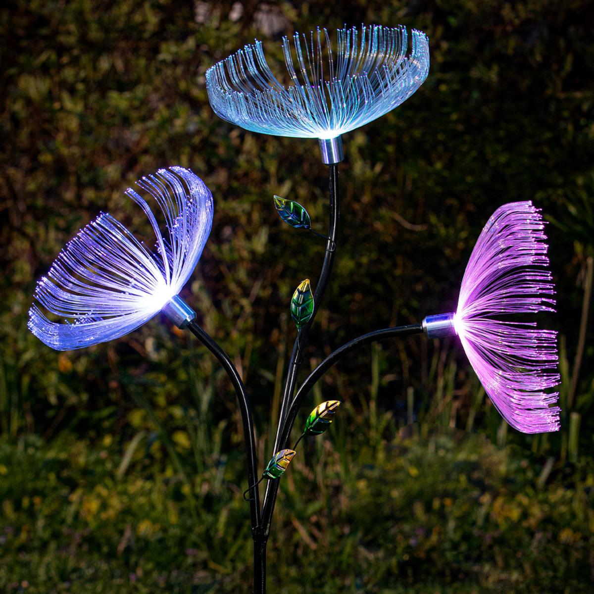 """Bild 1 von EZSolar LED Solar Blume """"Dandelion"""" mit 3 Blüten"""
