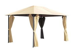Grasekamp Pavillon Nizza 3x4m Sand mit 4 Seitenteile