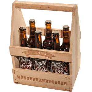 """Spruchreif Holz Bier- Flaschenträger """"Original Männerhandtasche"""""""