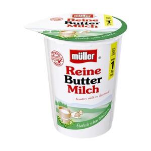 Müller Reine Buttermilch nur 1 % Fett, jeder 500-g-Becher/Flasche