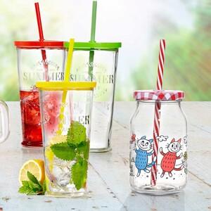 """Longdrinkglas """"Cool Summer"""" - mit Deckel und Trinkhalm - ca. 720 ml Inhalt - je"""