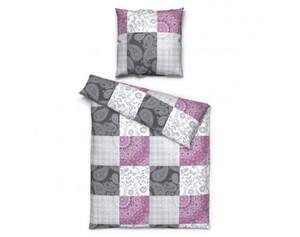 Baumwoll-Bettwäsche Patchwork lila-grau