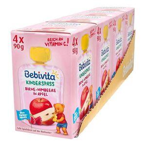 Bebivta Kinderspaß Birne-Himbeere in Apfel 360 g, 4er Pack