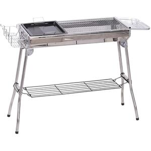 Outsunny Holzkohlegrill mit Ablage silber