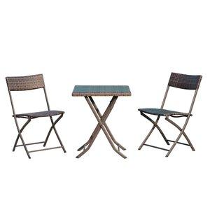 Outsunny Balkonmöbel als 3-teiliges Set kaffeebraun