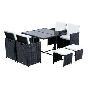 Outsunny Polyrattan Sitzgruppe als 21 teiliges Set schwarz