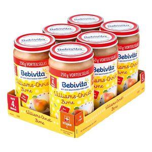 Bebivita Früchtegläschen Williams-Christ-Birne 250 g, 6er Pack