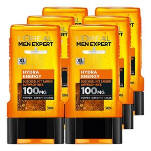 Loreal Men Expert Duschgel Hydra Energy Taurin 300 ml, 6er Pack