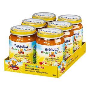 Bebivita Kinder-Küche Mini-Makkaroni mit buntem Rahmgemüse 250 g, 6er Pack