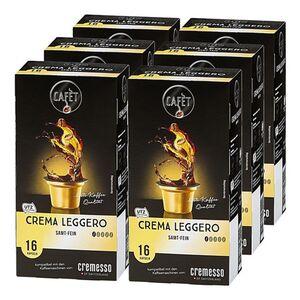Cafet für Cremesso Crema Leggero Kaffee 88 g, 6er Pack