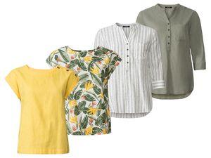 ESMARA® Bluse Damen, luftige Qualität, mit Leinen und Baumwolle