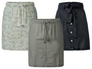 ESMARA® Rock Damen, luftige Qualität, seitliche Eingrifftaschen, aus Leinen und Baumwolle