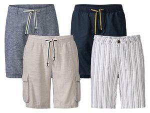 LIVERGY® Bermuda Herren, luftige Qualität, mit Bindeband, aus Leinen und Baumwolle
