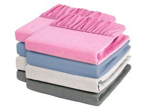 MERADISO® Chambray Spannbettlaken, 2 Stück, 90-100 x 200 cm, aus reiner Baumwolle