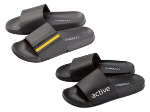 LIVERGY® Pantoletten Herren, mit breiter Bandage, leichte und flexible Laufsohle